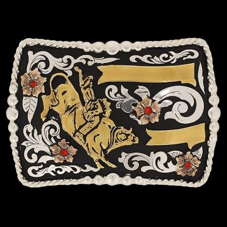 Fivela Master Montaria em Touro Fundo Negro com Banho Dourado / Prata