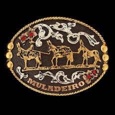 Fivela Master Premium Muladeiro Fundo Marrom com Detalhes em Strass 12465