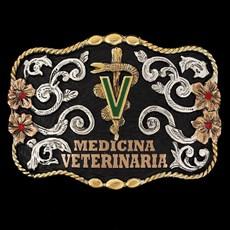 Fivela Master Premium Veterinária Fundo Negro com Detalhes em Strass 12464