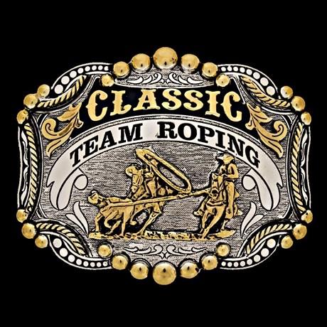 Fivela Master Team Roping com Banho Dourado e Prata 13590