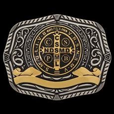 Fivela Medalha de São Bento com Banho Dourado e Prata Sumetal 28702
