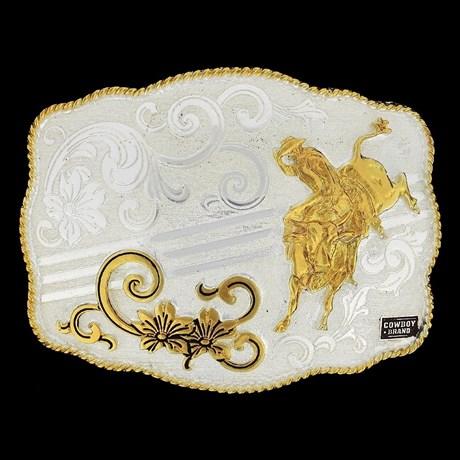 Fivela Montaria em Touro com Banho Dourado e Prata - Cowboy Brand 9003