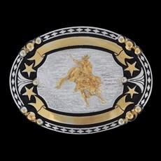 Fivela Montaria em Touro com Banho Dourado e Prata - Master