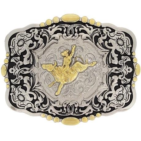 Fivela Montaria em Touro com Banho Dourado e Prata - Paul Western 18210