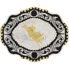 Fivela Montaria em Touro com Banho Dourado e Prata - Paul Western 18211