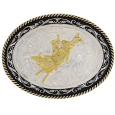 Fivela Montaria em Touro com Banho Dourado e Prata - Paul Western 18212