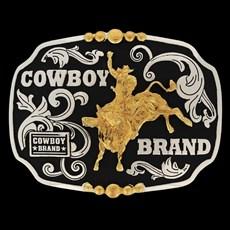 Fivela Montaria em Touro com Fundo Negro - Cowboy Brand