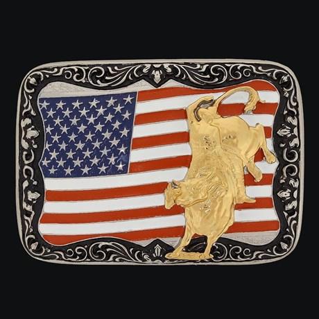Fivela Montaria em Touro e Bandeira EUA - Sumetal 19132