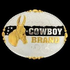Fivela Mula com Banho Dourado e Prata - Cowboy Brand