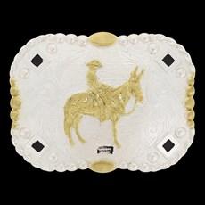 Fivela Mula Cowboy Brand Dourada e Prata 20085