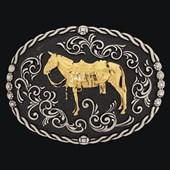 Fivela Mula Fundo Negro e Banho Dourado Níquel - Sumetal 19137