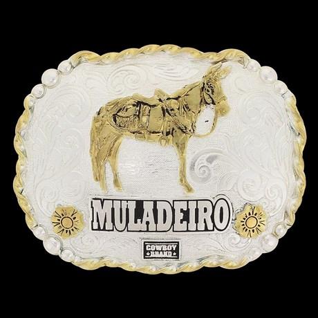 Fivela Muladeiro Cowboy Brand Dourada e Prata 20084