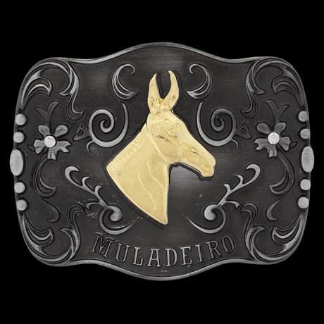 Fivela Muladeiro Preta com Strass Rodeo West 20894