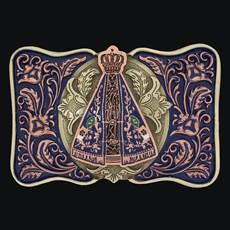 Fivela Nossa Senhora Aparecida Fundo Azul com Banho Dourado Níquel - Sumetal 19136