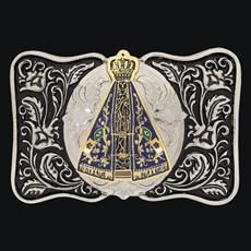 Fivela Nossa Senhora Aparecida Fundo Negro com Banho Dourado Níquel - Sumetal 19135