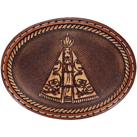 Fivela Nossa Senhora Aparecida Oval Revestida em Couro - Pyramid Country 18754