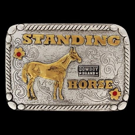Fivela Standing Horse Fundo Envelhecido com Detalhes em Strass - Cowboy Brand