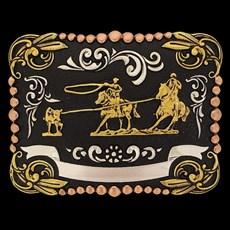 Fivela Sumetal Laço em Dupla Cabeça com Banho Dourado e Prata 17286