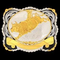 Fivela Sumetal Montaria em Touro com Banho Dourado Prata e Fundo Negro 10947