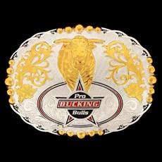 Fivela Sumetal Pro Bucking Bulls com Banho Dourado e Prata
