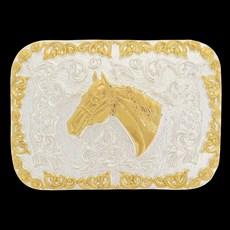 Fivela Sumetal Quadrada Cabeça de Cavalo Dourada e Prata 20324