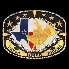Fivela Sumetal Texas Bull Riders com Banho Dourado Prata e Fundo Negro 10952