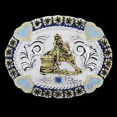 Fivela Tambor Azul Detalhes Corações Master 27881