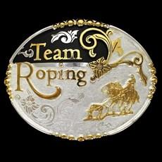Fivela Team Roping com Banho Dourado/ Prata e Detalhe Fundo Negro - Master
