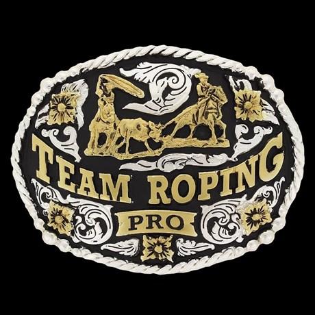 Fivela Team Roping Pro com Banho Dourado e Prata - Master 18557