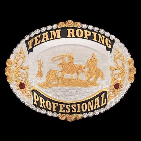 Fivela Team Roping Professional Banho Dourado/ Prata e Strass - Sumetal 11848