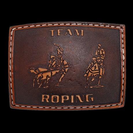 Fivela Team Roping Revestida em Couro - Pyramid Country 17505