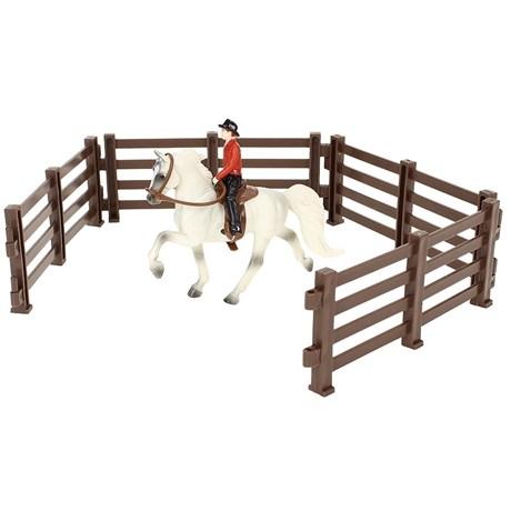 Kit Cavalo e Cavaleiro com Cercado Breyer Stablemates 17715