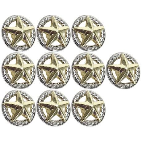 Kit com 10 Margaridas Estrela 19mm Dourada Rodeo West 25622