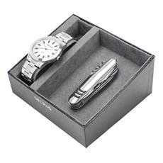 Kit Relógio Masculino Fundo Branco Séculus com Canivete 23812