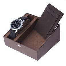 Kit Relógio Masculino Preto 5 ATM Mondaine com Porta Cartões 24975