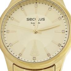 Kit Relógio Seculus Feminino Dourado com Colar 19700