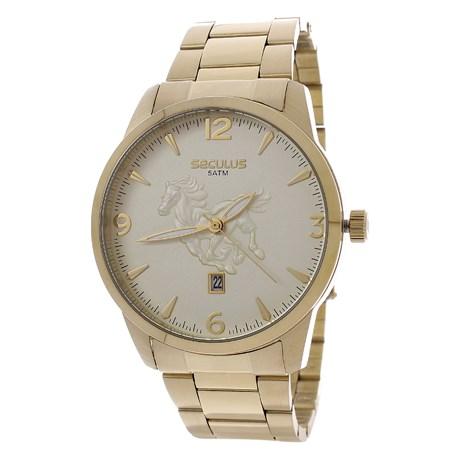 Kit Relógio Seculus Masculino Dourado 5ATM com Pulseira 24985