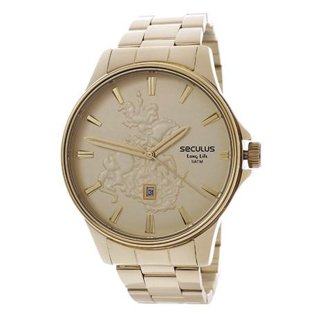 Kit Relógio Seculus Masculino Long Life 5ATM com Colar São Jorge 24986
