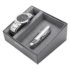 Kit Relógio Seculus Masculino Prata e Canivete 11 Funções 23809