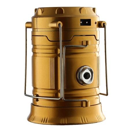 Lanterna Lampião Retrátil Solar LED USB Recarregável Dourada Sihong 28613