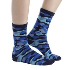 Meia Infantil Cano Alto Estampa Camuflada Azul Gasf 28247