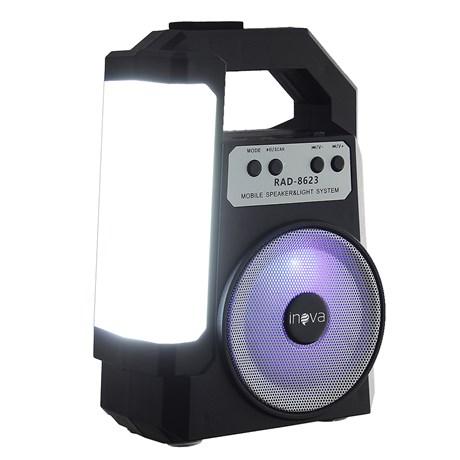 Mini Caixa de Som com Laterna LED sem Fio Rádio FM USB TF Inova 28578