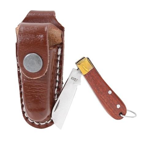 Mini Canivete com Bainha de Couro Chaveirinho Marrom Rodeo West 19815