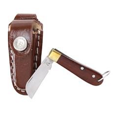 Mini Canivete com Bainha de Couro Chaveirinho Marrom Rodeo West 23603