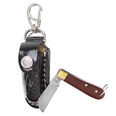 Mini Canivete com Bainha de Couro Preta Chaveirinho Rodeo West 23601