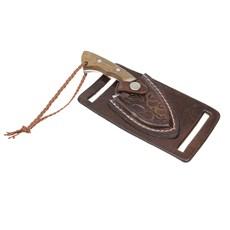 Mini Faca Campeira Inox com Bainha Marrom Old West 29902