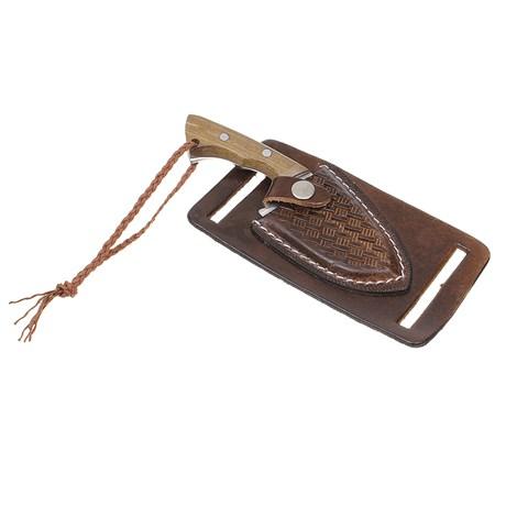 Mini Faca Campeira Inox com Bainha Marrom Old West 29903