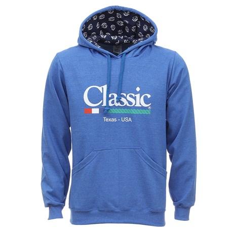 Moletom Azul com Capuz e Bolso Canguru Masculino Classic 29117