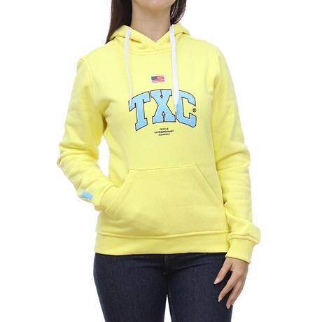 Moletom Feminino Amarelo com Bolso Canguru TXC 29079