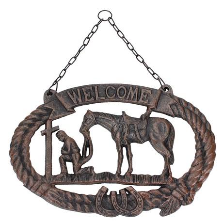 Placa em Metal Importada Welcome - Western Moments
